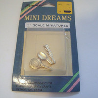 Miniature Doll House 1 inch scale gold tone vanity set mirror brush comb  unopened