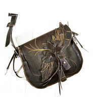 Brown Leather Shoulder Bag ENKELI  Handmade to Order messenger ANGEL Wings