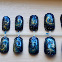 Custom Painted Galaxy Nails