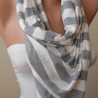 Striped Scarf - Light Grey and Off-White Scarf - Combed Cotton