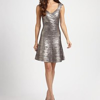 Herve Leger - Metallic A-Line Bandage Dress