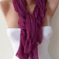 ON SALE - Dark Purple Scarf - Tulle Fabric - Seamless Shawl