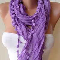 Lilac Cotton Scarf with Pompom Trim Edge