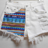 Vintage White Levis High Waist   Denim Shorts Tribal Print  Waist 27   inches