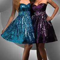 Shimmer Sequined Cocktail Dress 59405 - $240