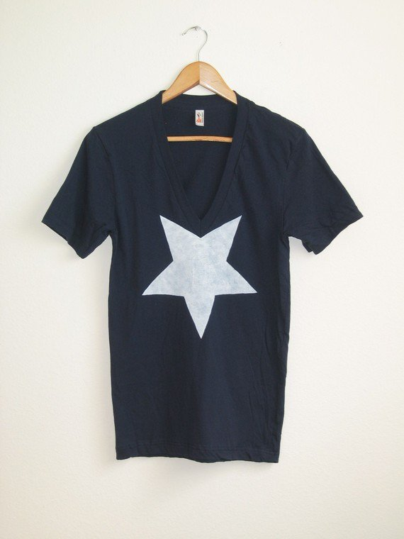 White Star Deep Hand STENCILED V Neck Artist Series Tee in Navy - XS S M L XL 2XL