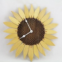 Sunflower clock  Yellowheart by krtwood on Etsy
