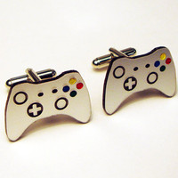 Video game controller silver cuff links in FREE box, groom, wedding