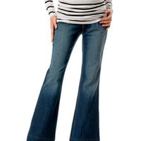 Motherhood Maternity: Indigo Blue Secret Fit Belly(tm) Slim Fit Skinny Flare Maternity Jeans