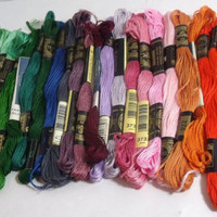 Embroidery Floss DMC Coats assorted bright colors 31 skeins destash needlework cross stitch crewel craft floss