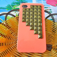 iphone 4 4S hard Case cover with bronze pyramid stud For Apple iPhone 4,4S ,iPhone 4 Case, iPhone 4s Case, iPhone 4GS  Case,  case-042