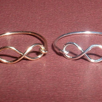 INFINITY RINGS SET,   handcrafted in sterling silver &amp; 14kt gold filled &quot; 20 gauge &quot; jewelry wire