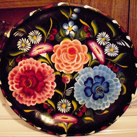 Vintage Mexican Bowl Tray Hand Painted Batea