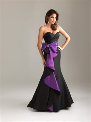 Chiffon Strapless Sweetheart Beaded Color-block Ruffled Draped Taffeta Prom Dress PD1860 Dresses UK