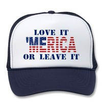 &#x27;MERICA US Flag - Love It Or Leave It Hat from Zazzle.com