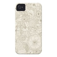 iPhone 4 Case with Flowers Hand Drawn Floral Iphone 4 Covers from Zazzle.com