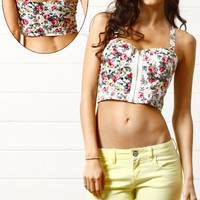 TG5517 White Floral Print Front Zipper Bralet and Shop Apparel at MakeMeChic.com