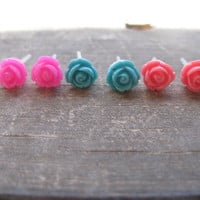 set of 3 rose earring,Flower Earring Set-Hot pink Pink Turquoise,hypoallergenic earring stud