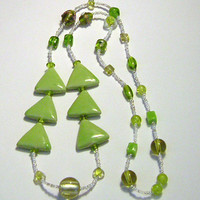 Light Green Porcelain Triangle Bead Necklace