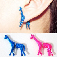 1 Pair 3D Giraffe Ear Stud Earrings Neon Colors