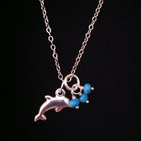 Dolphin Necklace in Sterling Silver, Turquoise Rondelles, Lucky Charm,
