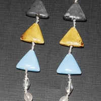 Gray, Gold and Blue Porcelain Triangle Necklace