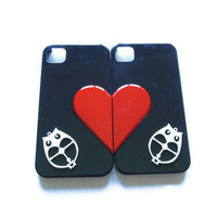 Black & White Iphone 4/ Iphone 4s with Red Heart and wooden owls case- couples set- Free shipping