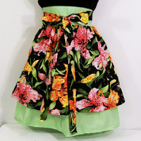 Womens Apron--Tiger Lily Floral with Green