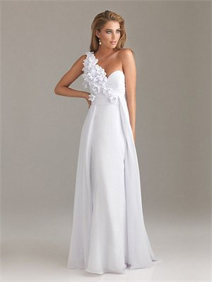 One-shoulder Column White With Sequins Prom Dress PD0504