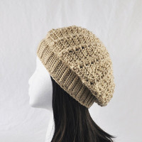 Crochet Beret Tam Hat Light Tan or Bone