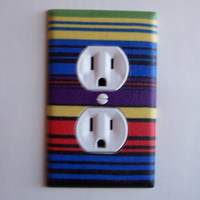 Retro Stripes Outlet Cover Switch Plate Switchplate