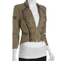 BCBGMAXAZRIA lake green stretch cotton cropped military jacket | BLUEFLY up to 70 off designer brands