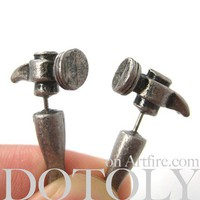Dotoly | 3D Fake Gauge Realistic Hammer Tool Stud Earrings | Online Store Powered by Storenvy