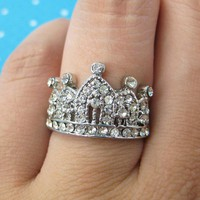 Small Royal Crown Princess Pinky Ring with Rhinestones - Size 5