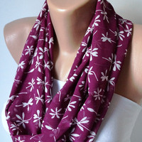 Infinity Scarf loop flower handmade from white and plum purple chiffon