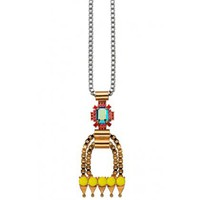 Charm & Chain | Pyramid & Gemstone Long Pendant - Necklaces - Jewelry
