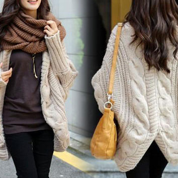 6 COLORS Autumn Wool Long Knitted Coat Sweater Cape