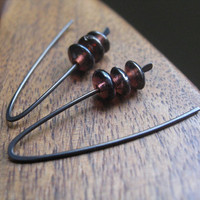 modern niobium earrings in mocha plum hypoallergenic by Splurge