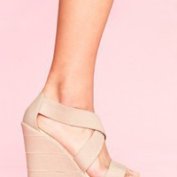Bound Platform Wedge - Taupe - NASTY GAL