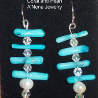 "Earrings- ""Mermaid's Bliss "" Genuine Blue Sea Coral and White Pearl Dangling set on 925 Sterling Silver"