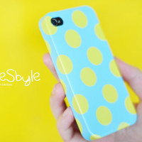Apple iphone  case for iphone  iphone 4  iphone 4s : Yellow polka dots on soft blue background