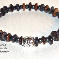 "Men's Bracelet Paua Shell and Hematite  "" Faithful and Strong"" Hawaiian Inspired"