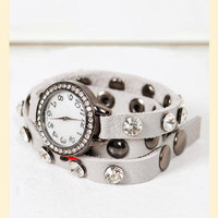 Spare Time Leather Watch in Light Gray