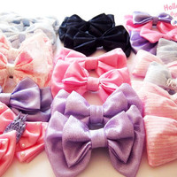 LUCKY BOW PACK (2 random bows)   fairy kei , lolita , kawaii , cute, ribbon, hair clip, 2 way clip, head bow, sparkle, glitter,  lace,