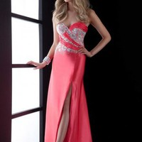 Side Slit Sweetheart Watermelon Floor-length Prom Dress With Jewel 5042