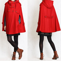 5 colors Fall Winter Cape Wool Cape Cashmere coat Hoodie Red coat  button coat winter coat cloak Hoodie cape Hooded Cape
