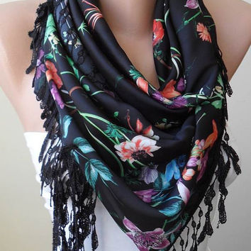 Colorful Tropical Flowers -  Chiffon Scarf with Black Trim Edge