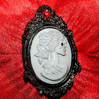 Red Flower Black Tulle Lady Skeleton Cameo Hair Clip Goth Pinup