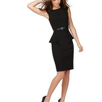 XOXO Juniors Dress, Cap Sleeve Solid Black Fitted Peplum Sheath - Juniors Dresses - Macy's
