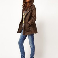 ASOS Popper Front Waxed Finish Jacket at asos.com